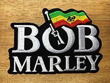 BOB MARLEY ONE LOVE EMBROIDERY IRON ON PATCH BADGE White & Black