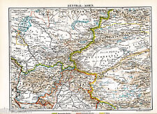Central Asia 1897 orig. Karte + Lex-Art. Afghanistan Tibet Kashmir Kazakhstan