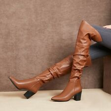Women Leather Pointy Toe Block Heel Over The Knee High Riding Boots Outwear Hot