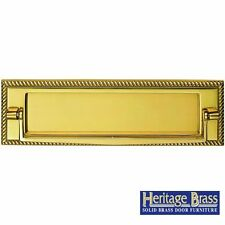 """HERITAGE BRASS GEORGIAN LETTER PLATE LETTER BOX 11""""x3"""" (280x88mm) WITH KNOCKER"""