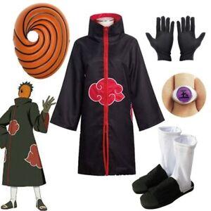 Akatsuki Uchiha Cosplay Costume Tobi Obito Akatsuki Mask Halloween Kids Adult