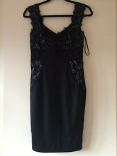 New Ladies Ted Baker Black Lace Dress Size 8 No Tags Body-con Figure Shape Style