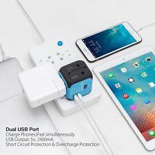 2 USB Plug Charger Universal World Travel Adapter Power UK US EU AU Europe Asia