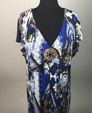 Style & Co. Womens Plus Size Dress Empire Waist Flounce Sleeve Medallion 1X AJ36
