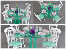 Barbie Doll House Furniture Dining Room Kids Girls Play Set Table Setting Green