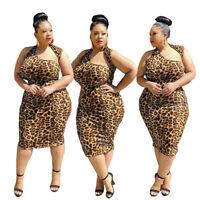 Women's Sleeveless Leopard Print Irregular Club Party Plus Size Bodycon Dress