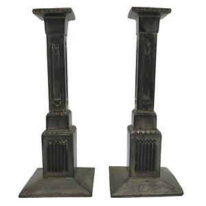 antikes Paar versilberte Kerzenleuchter ges. geschützt Modell 923 20,5cm hoch