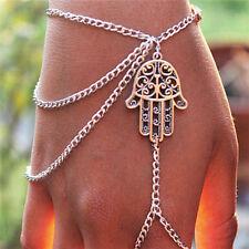Hamsa's Hand Palm-shaped Silver Charm Slave Chain Link Bracelet Finger Ring Xmas