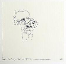 Dessin automatique de Pascale BAUD, titré et signé. Portrait d'un vieil homme.