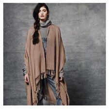 "Bohemian Poncho Ruana  Kimono Shawl Artist Handwoven ""SAQIL"" Warm Tan Reg $115"