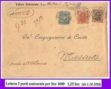 54812 - REGNO: UMBERTO I - STORIA POSTALE :  BUSTA con tariffa 1,25 Lire 1901