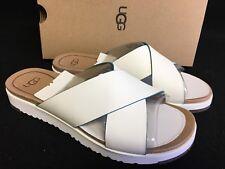 UGG Australia KARI White LEATHER IMPRINT SLIDE SANDALS WOMEN'S Shoes 1015822