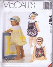 McCalls Sewing Pattern 7478 Baby Toddler Romper Jumpsuit Hat Cap Sm Med Lge