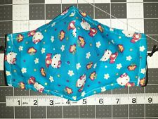1 Cotton Fabric Face Mask HELLO KITTY Triple Layer W/ Nose Wire & Filter Pocket
