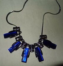 NEW Modern Crystal Geometric Midnight Blue Beaded Charcoal Grey Collar Necklace