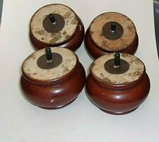 "4 Solid Round Finished Wood Chair/ or Couch Legs 3"" Tall X 5"" Diameter"