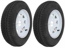 "2-Pack Trailer Wheel & Tire #414 530-12 5.30-12 5.30x12"" LRB 4 Hole White Spoke"