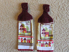 """Crocheted top kitchen towels-Two towels: """" Home is Where the Heart Is"""""""