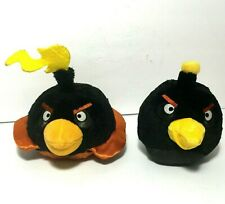 """Angry Birds 5"""" Plush Lot Black Bomb and Space Bomb Stuffed Both with Sound"""