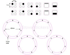 4 RING HOB COOKER TOP STICKER DECALS + 0-6 HOB STOVE NUMBERS WITH ZERO AT TOP