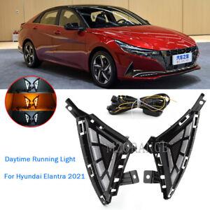 Fit For Hyundai Elantra 2021 LED Daytime Running Light Fog Lamp DRL Turn Signal