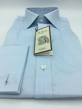 Barrel Cuff Savile Row Mens Navy White Micro Check Twill Classic Fit Button-Down Shirt