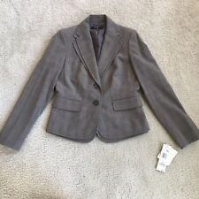 Nine West Jacket Women's Button Down Blazer Autumn Breeze Espresso Gray Sz 6
