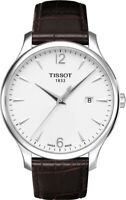 TISSOT T Classic Tradition Silver Dial Men's Swiss Leather Watch T0636101603700