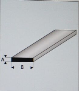 "MAQUETT 411-53/3 White Styrene Strip 3.50mm x 2.00mm / 0.138""x 0.080"" x 330mm X5"
