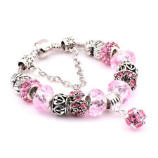 Women 925 Silver Plated Beaded Pink Wheel Charm Bracelet Gift Fashion Jewelry