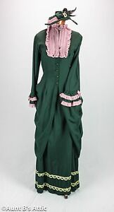 Historical 1880's 4 Piece Day Ensemble Dark Green & Pink Handmade Costume 12-14