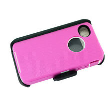 For Apple iPhone 4/4s Defender Case Cover (Belt Clip Fits Otterbox) Pink White