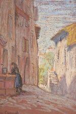 Dessin original pastel vers 1930 Vieille rue à la fontaine Le Cannet Côte d'Azur