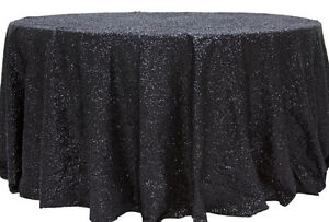 """5 SEQUIN TABLECLOTHS 90"""" ROUND TABLE COVER 3 COLORS WEDDING OVERLAY MADE in USA"""