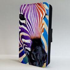 Teléfono Abatible de arte animal de cebra colorido estuche cubierta para iPhone Samsung