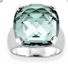 SWAROVSKI BRAND Large Pale Turquoise Blue Cushion Cut Crystal Ring Size 52