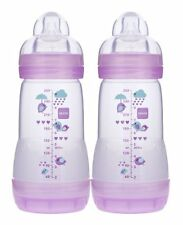 NEW MAM Anti Colic Bottle Girl Colors 9 Ounce 2 Count FREE SHIPPING