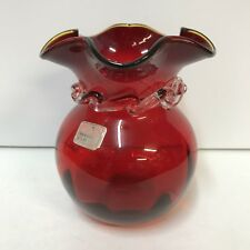 Vintage Viking Art Glass Vase Ruby Red Clear Neck Yellow Tip Rim Ruffled Label
