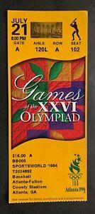 1996 Atlanta Summer Olympics Ticket Stub 7/21/96 Baseball Japan vs Cuba