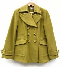 Wallis Womens Coat 14 Olive Green Chartreuse Military Short Thick Autumn Winter