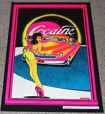 COCAINE 1950's Pin Up Girl Drive In Restaurant Blacklight Poster 1973 Petagno