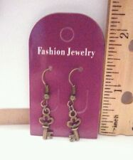 Bronze Plated 3D Key Charms - Handmade Dangle Earrings Free Shipping in the USA