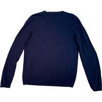 COS Navy Blue Plain Jumper Pullover Cotton Cashmere Sweatshirt Mens Small