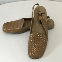 """Trotters """"LUCY"""" Woven Leather Slingback Shoes Sandals 9 N MSRP $119 Caramel"""