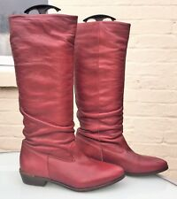 Office Burgundy Leather Pull On Knee High Boots - Eu 39 / UK 6 - Worn Twice VGC