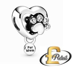 Brand New Genuine Pandora 'Sparkling Paw Print - FUR MUM' Charm Bead - 798873C01