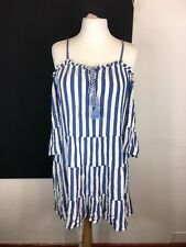 Primark Size 20 Blue White Stripe Gypsy Style Dress Stretchy Off The Shoulder