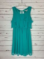 Boutique Ya Los Angeles Women's M Medium Turquoise Silk Sleeveless Spring Dress