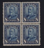 Canada Sc #154 (1928) 8c blue Scroll Issue Block of 4 Mint VF NH MNH