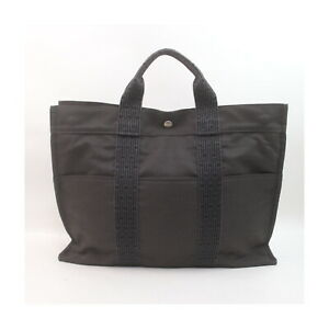 Hermes Tote Bag Her Line MM Grays Canvas 1528900